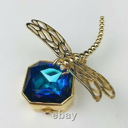 Rare Estee Lauder 2003 White Linen Crystal Blue Dragonfly Solid Perfume Compact