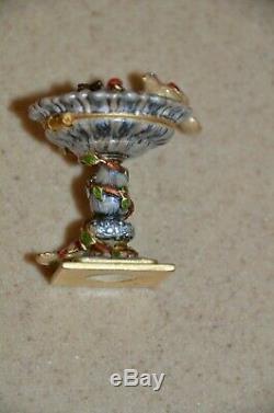 Rare Jay Strongwater Estee Lauder Compact Precious Bird Birdbath Enamel Figurine
