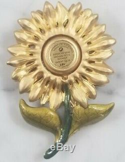 Rare Jay Strongwater Estee Lauder Compact Radiant Sunflower Flower Enamel Objet