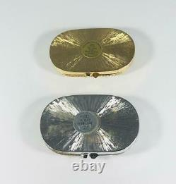 SET OF 1980s PROTOTYPES Estee Lauder GOLD & SILVER OVAL Solid Perfume Compacts