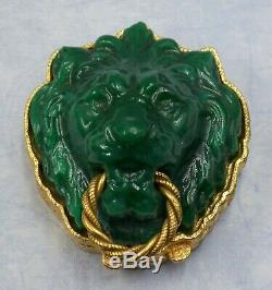 Very Rare Estee Lauder Dynasty Green Lion 1973 Perfume Solid Compact