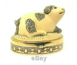 Vintage Estee Lauder Cinnabar Imperial Dog Solid Perfume Compact. 13 oz Rare