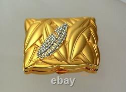 Vintage Estee Lauder Lucidity Powder Compact Swarovski Crystal Matte Gold Lotus