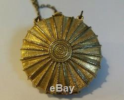 Vintage Estee Lauder Perfume Compact Necklace Gold Tone Cabochon Blue Stone