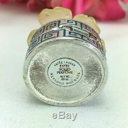 Vintage Estee Lauder Solid Perfume Compact White Christmas Camellia Flower Full