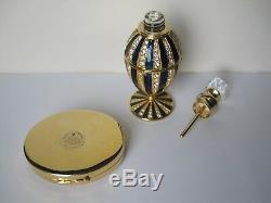 Vintage Sparkly Super Perfume Bottle, Crystal Blue Powder Compact Estee Lauder