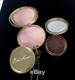 1965 Estee Lauder Regent Monogramme 1er Parfum Solide Avec Poudre Compacte Vtg Rare
