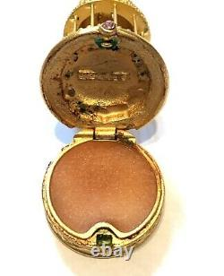 1998 Estee Lauder Beautiful Solid Perfume Compact Pink Jeweled Bird Cage