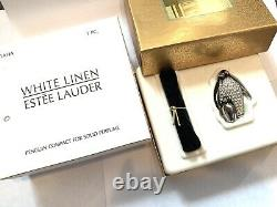 2001 Estee Lauder Penguin Compact White Linen Solid Perfume Box (en Français Seulement)