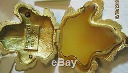 2002 Estee Lauder Émail Frog Solide En Lin Blanc Parfum Compact Jay Strongwater