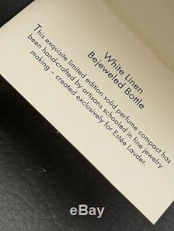 2005 Estée Lauder White Linen Bejeweled Bouteille Parfum Solide Compact Pouch & Box