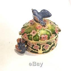 2006 Estee Lauder Signe Jay Strongwater Oiseaux Précieux Linen Solide Box Compact