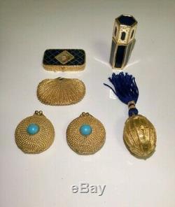 6 Ea Vintage Set Estee Lauder Faux Turquoise Youth Dew Solide Parfum Compact