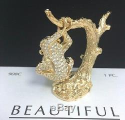 Collier Compact De Parfum De Chimpanzé Jeweled Jewel Parfum Cadeau Saint-valentin Vtg