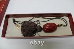 Complète 1978 Estée Lauder Cinabre Ginger Jewel Parfum Solide Compact Avec Boîte