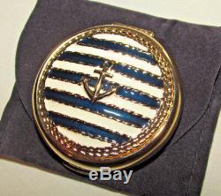 Estee Lauder 1998 Powder Compact Clear Ancrage Nautique Marine Marine Stripe Nouveau
