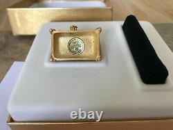 Estee Lauder 2001 Dazzling Gold Solide Parfum Compact Trésor Chest Mib