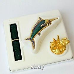 Estee Lauder 2003 Parfum Compact Magnifique Marlin Swordfish Mib Linge Blanc