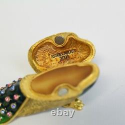 Estee Lauder 2003 Solid Perfume Compact Émail Precious Peacock Mibb Plaisirs