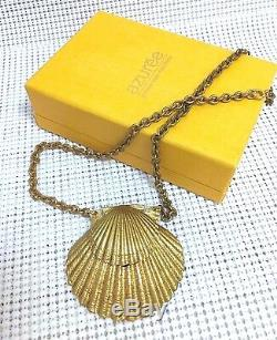 Estee Lauder Azure Solide Parfum Compact 1972 Pour Necklace Piste En Orig. Boîte