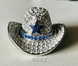 Estee Lauder Chapeau De Cowboy Compact En Argent Avec Étoile Bleue 1999