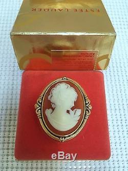 Estee Lauder Coral Cameo Vintage Solide Parfum Compact Orig. Box 1986