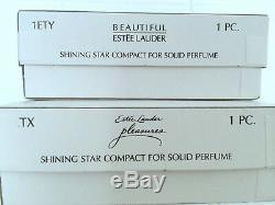 Estee Lauder Deux D'argent Et Or Stars Solide Parfum Compact Orig. Boîtes Rare