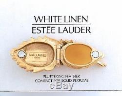 Estee Lauder Fluttering Feather Compact W Boîtes Origines De Parfum Solide En Lin Blanc