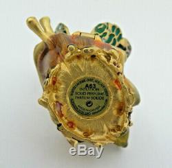 Estee Lauder Jay Strongwater Parfum Solide Compact Box Papillon Feuille Trinket