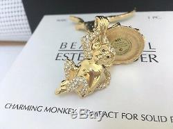 Estee Lauder Jeweled Chimp De Charme Monkey Solide Parfum Compact Box Necklace