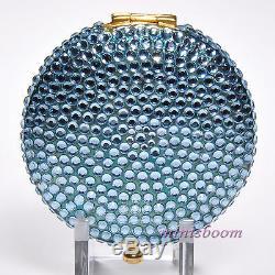 Estee Lauder Light Blue Compact Lucidité Poudre 0,1 Oz 2,8 G Deux Côtés Cristaux