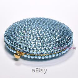Estee Lauder Light Blue Compact Poudre Lucidity 0.1 Oz 2.8 G Cristaux Des Deux Côtés