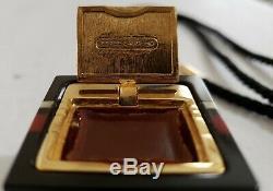 Estee Lauder Parfum Cinnabar Solide Lucite Collier Compact Avec Pompons Rare