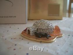 Estee Lauder Parfum Compact Rare 2002 Igloo Mibb Givré Belle Pailleté