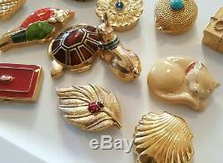 Estee Lauder Parfum Solide Lot Lot Tortue Chat Cuire Email Coquillage Lapin Coquillage