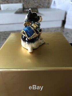 Estee Lauder Pleasures 2009 Blue Ribbon Bulldog Parfum Compact Jay Strongwater