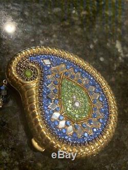 Estee Lauder Rare Limited Edition 2003 Bleu Inde Paisley Compact- Entier En Poudre