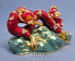 Estee Lauder Red Lucky Asian Dragon Solid Perfume Compact Exc. Pas De Pierres Manquantes