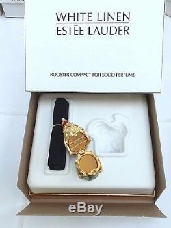 Estee Lauder Rooster Compact Avec Parfum Solide En Lin Blanc À Orig. Boites Rare