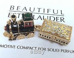 Estee Lauder Steam Locomotive W Losanges Pleins Parfum Compact En Orig. Des Boites