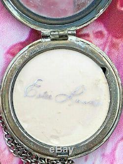 Estee Poudre De Porcelaine D'argent Lauder Mini-compacte Sur La Chaîne Montre De Poche Antique
