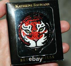 Kathrine Baumann Estee Lauder Swarovski Crystal Orange Tiger Powder Compact