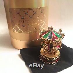 Original Estee Lauder Carousel Émail Solide Compact Box Et Sac