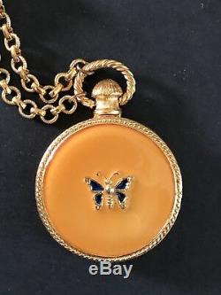 Parfum Azuree Solid Estee Lauder Papillon Collector Pendentif Médaillon Compact