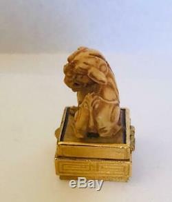 Rare1974 Estée Lauder Azuree Ivory Foo Dog Parfum Solide Compact Withpouch