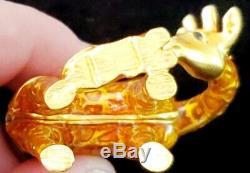 Rare Estee Lauder 2002 Gilded Girafe Avec Bébé Parfum Solide Compact Complet Unused
