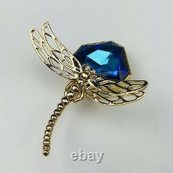 Rare Estee Lauder 2003 Linge Blanc Cristal Bleu Dragonfly Solide Parfum Compact