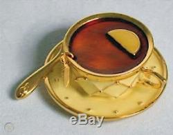 Rare Estee Lauder Tea Cup Pleasures Parfum Solide Compact 1999 Comme Neuf En Boîte