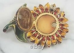 Rare Jay Strongwater Estee Lauder Compact Radiant De Tournesol Fleur Émail Objet