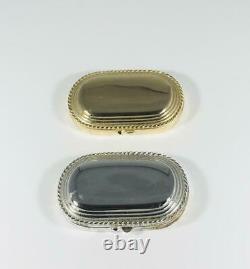 Set Of 1980s Prototypes Estee Lauder Gold & Silver Oval Compacts Pour Parfums Solides